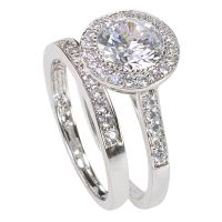 Women's Sterling Silver Engagement Ring Set 2ct Cubic ...