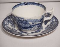 Royal Staffordshire China Cup and Saucer Blue Tonquin ...