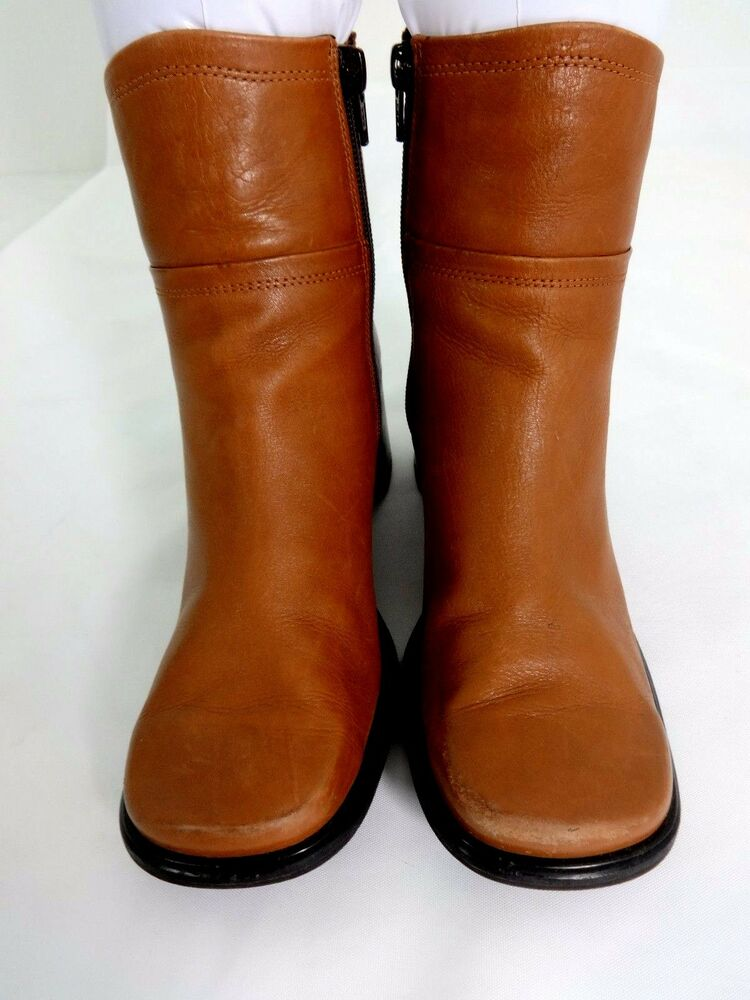 Eddie Bauer Womens Brown Leather Ankle Boots Size Us 75 M