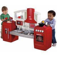 Kids Play Kitchen Pretend Toy Toddler Red Plastic Cooking