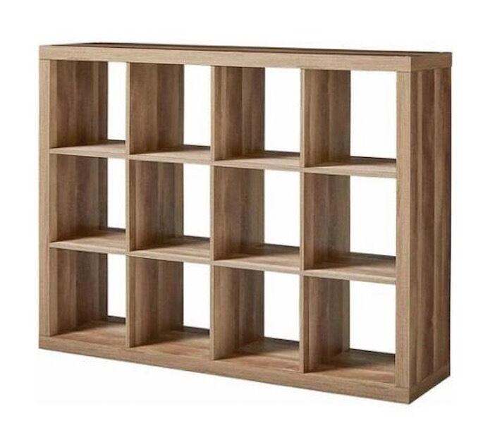 Weathered Wood 12 Cube Organizer Modern Shelf Bookcase