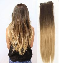 Full Head Clip in Human Hair Extensions Remy Ombre Dip Dye ...