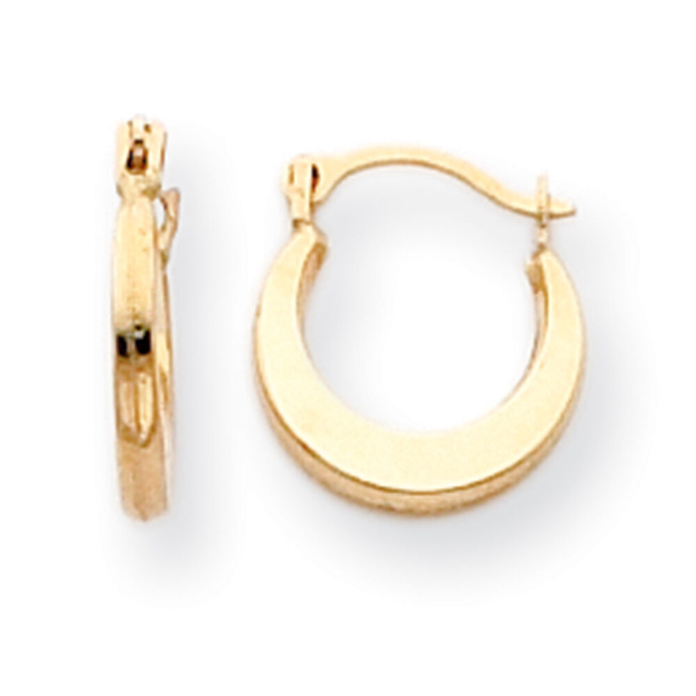 14K Yellow Gold Hollow Small Hinged Hoop Earrings Madi K