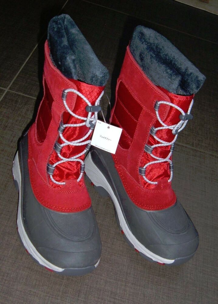 Lands End Womens Expedition Red Suede Gray Faux Fur