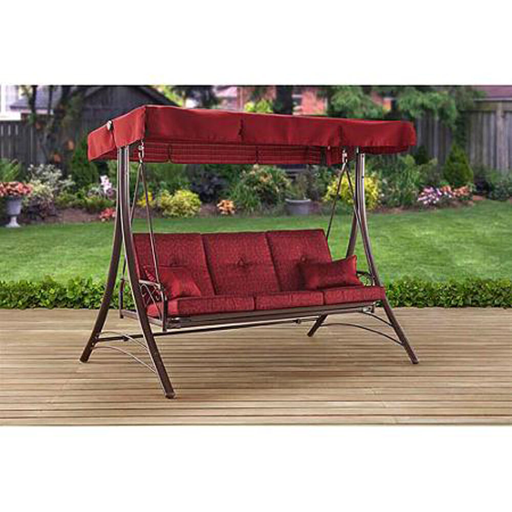 Porch Swing With Canopy Cover Red Cushion Patio Bed