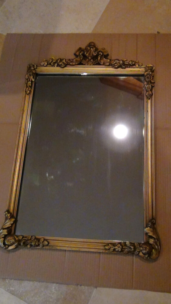 Wall Mirror Vintage Style Antique French Victorian Wood Carved Floral Ornate Gilt