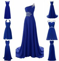 New Royal Blue Plus Size Chiffon Wedding Bridesmaid Dress