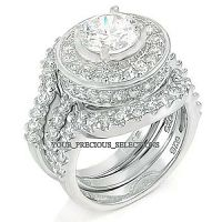 Sterling Silver 925 Halo Round Wedding Engagement CZ Ring ...