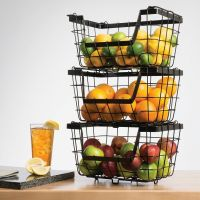 Giftburg Stacking Baskets,Set of 3,Storage Fruit Rack ...