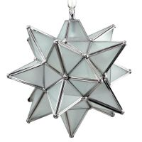 Moravian Star Pendant Light, Frosted Glass, Silver Frame ...