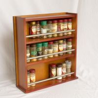 Wooden Spice Rack - Closed Top - 3 Tiers - Stainless Steel ...