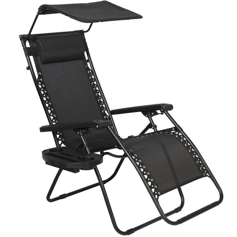 Zero Gravity Chair With Cup Holder Deck Beach Chair, Black Folding Furniture Patio Outdoor Zero Gravity, Cup Holder | Ebay