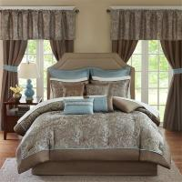 Deluxe Taupe Blue Paisley Comforter Window Curtains 24 pcs ...