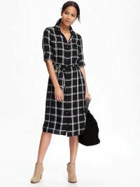 Old Navy Women's Black Plaid Midi Shirt Dress Size XS ...