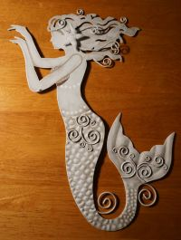 BEAUTIFUL RUSTIC WHITE MERMAID Metal Wall Sculpture Art ...