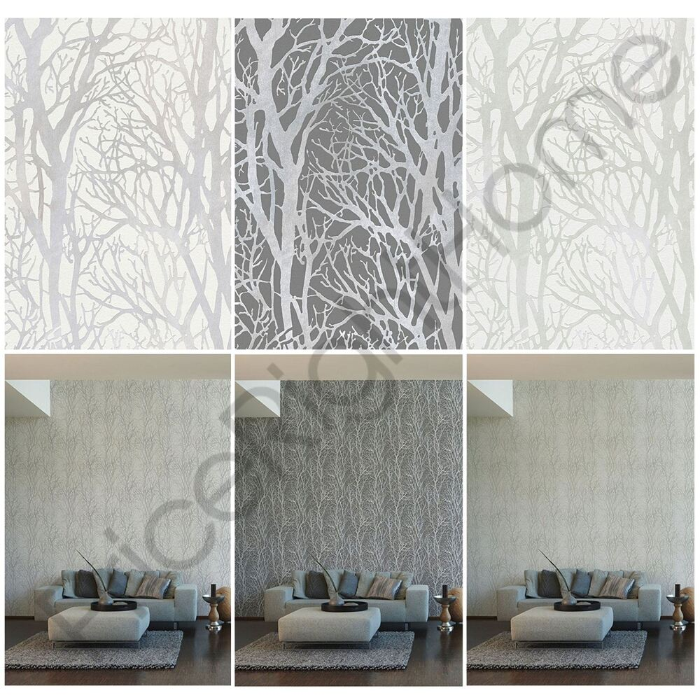 3d Grey Brick Effect Wallpaper As Creation Tree Branches Wallpaper Feature Wall Grey