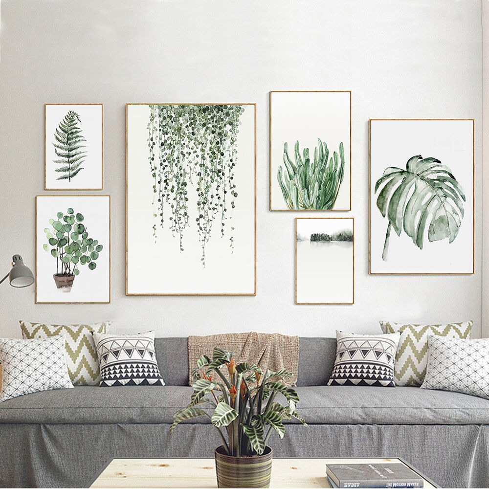 Wall Art Prints And Posters Tropical Plants Leaves Canvas Vintage Poster Wall Art Prints