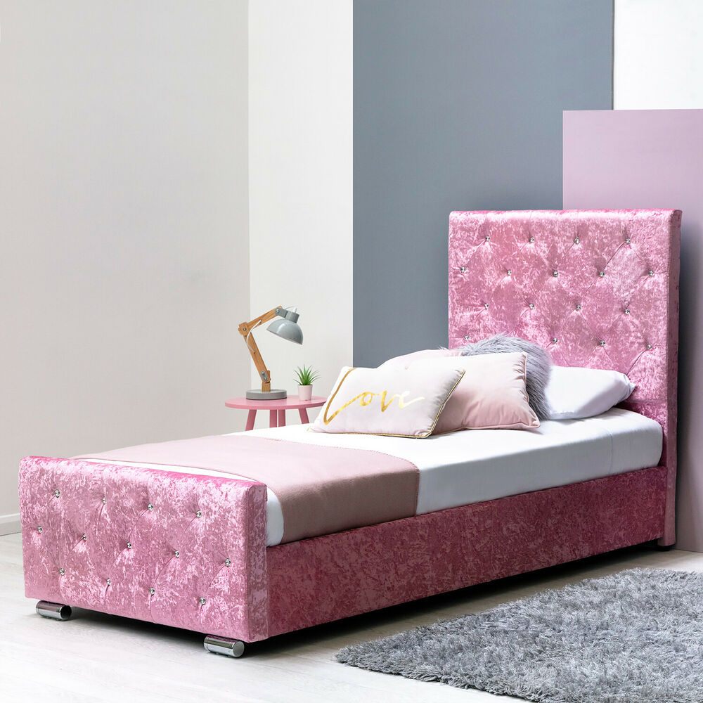 Under Bed Storage Frame Girls Pink Crushed Velvet Princess Single Bed Frame Lift Up Under Bed Storage Ebay