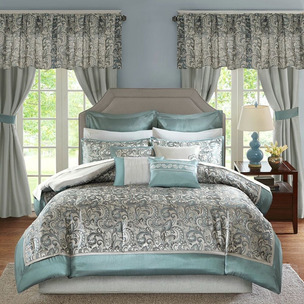 Teal Silver Curtains Luxurious Teal Silver Grey Faux Silk Comforter Curtains 24 Pc Cal King Queen Set Ebay