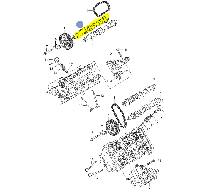 AUDI S4 27T APB 2000-02 RIGHT SIDE BANK1 EXHAUST CAM CYLINDERS 1-3