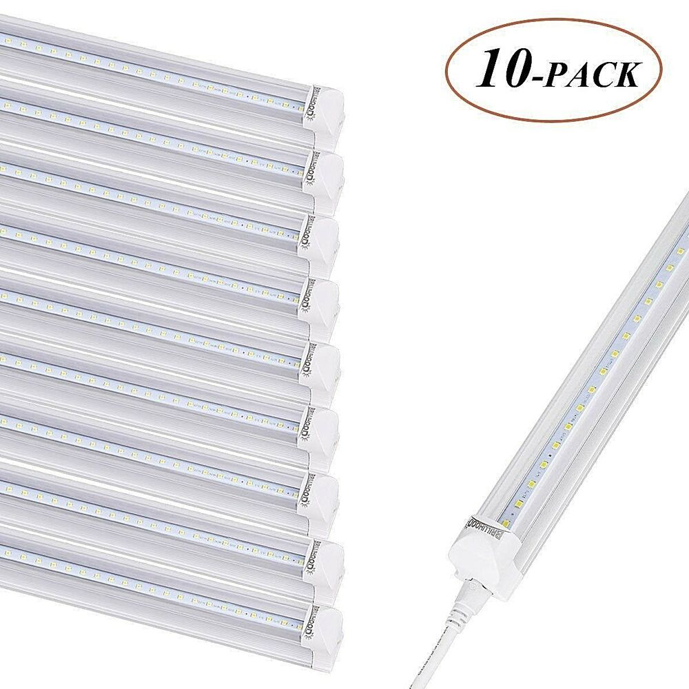 Led T8 10 Pack Of Led T8 4ft Linkable Led Shop Lights Super Bright White 6500k New Ebay