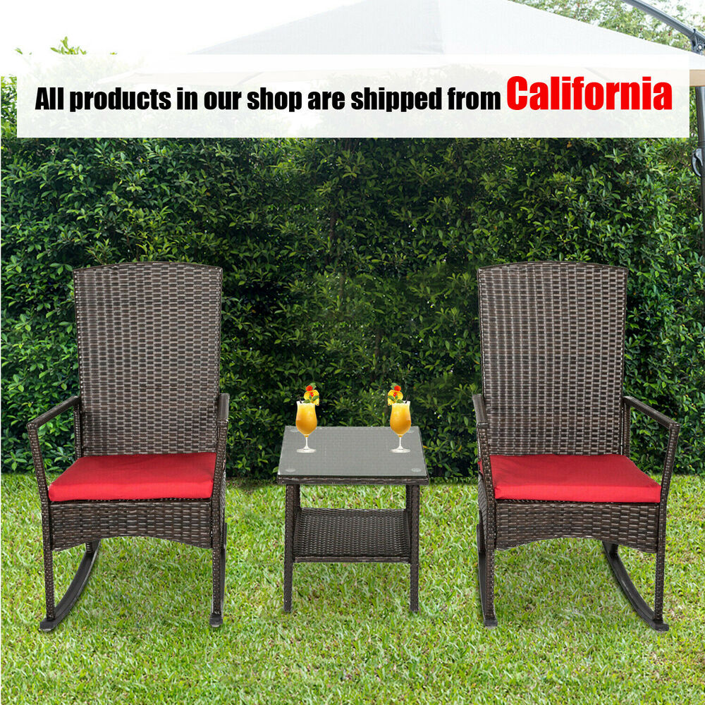 Bank Rattan Kinbor 3pcs Outdoor Living Rattan Rocker Chair Side Tea Table Set Lounge Chair 713923128088 Ebay