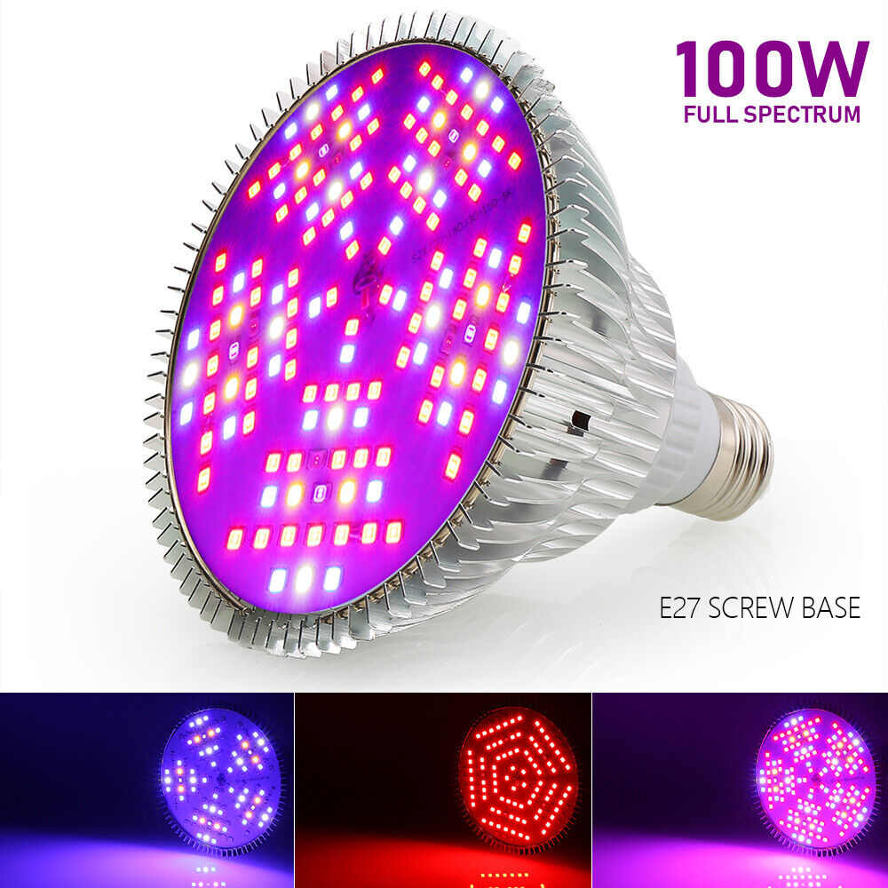 Led E27 100w Dimmable 100w E27 Led Grow Light Bulb Lamp Indoor Hydroponic Plant Veg Flower Ebay