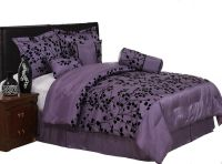 7 Pieces Purple with Black Velvet Floral Flocking ...
