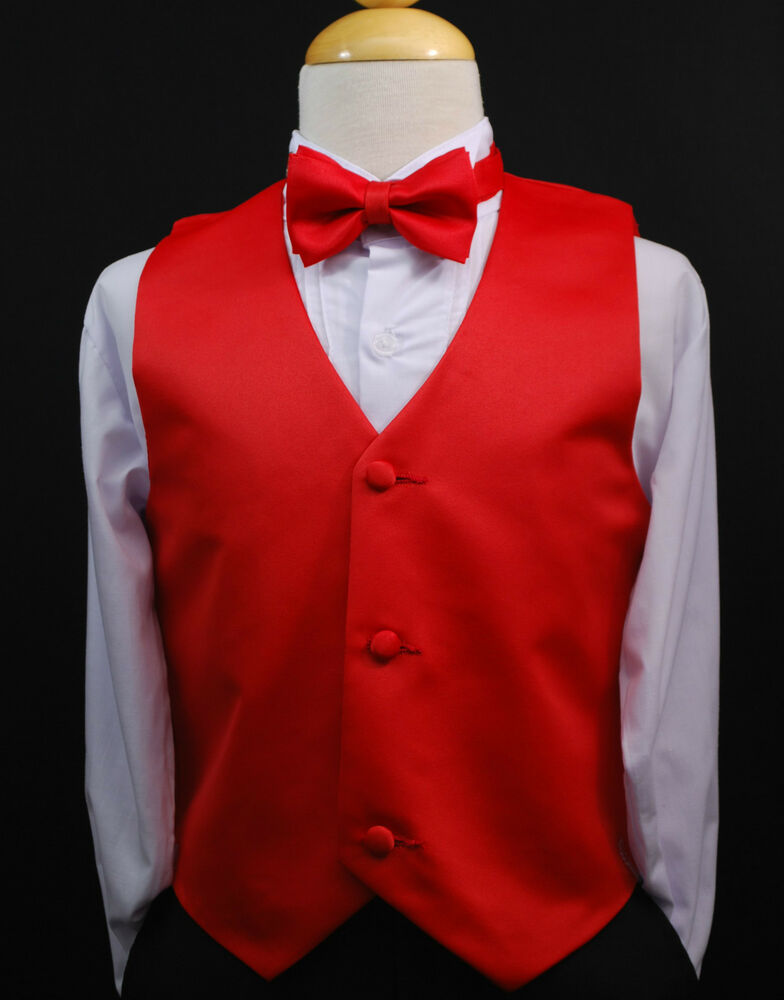 Toddler & Kids RED VEST + BOW TIE / LONG NECK TIE Boys