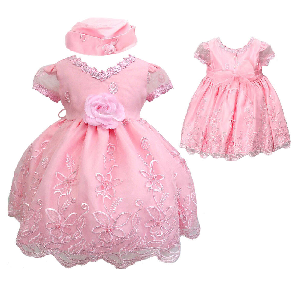 New Baby Infant Toddler Girl Pageant Wedding Formal Pink