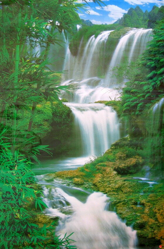 3d Nature Wallpaper For Wall New 5 Ft Forest Waterfall Poster Wall Mural Wall Decor Ebay