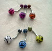 Zebra Animal Print Navel Belly Button Ring 14g Pink | eBay