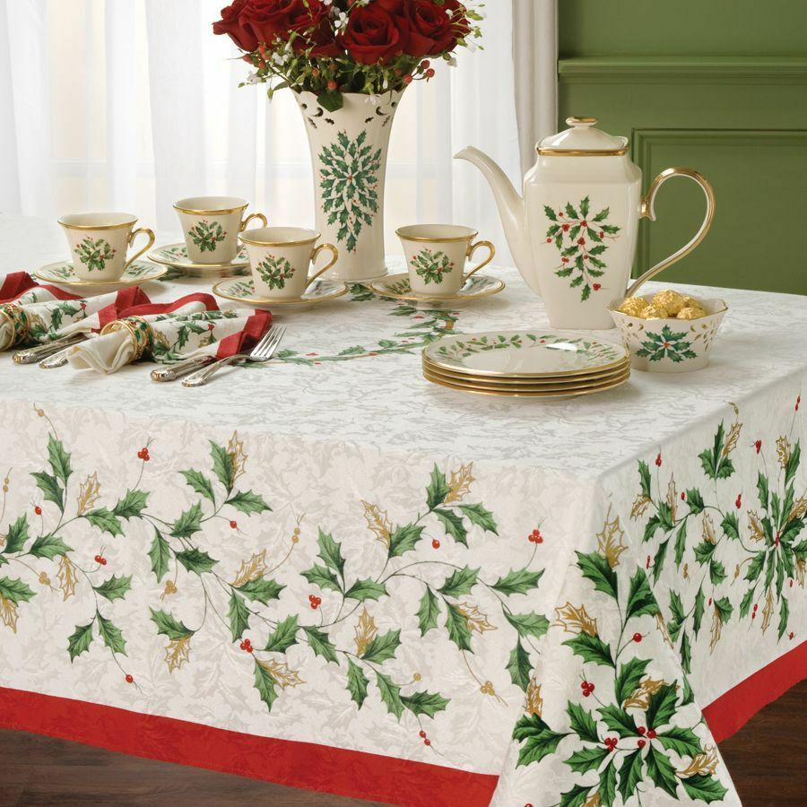 Tischdecken Weihnachten Lenox Holiday Holly Christmas Tablecloth Various Sizes | Ebay