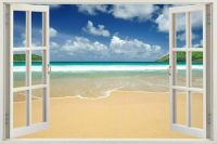 3D Window Frame Peel and Stick Mural Wall Art Beach Scene
