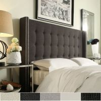 Marion Nailhead Wingback Button Tufted Queen Size ...