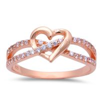 ROSE GOLD PLATED INFINITY LOVE KNOT HEART CZ Sterling ...