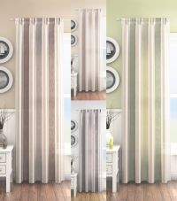 MODERN PLAIN VERTICAL STRIPED NET VOILE CURTAIN PANEL SLOT ...