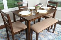 5pc WALNUT Dining Table Set Dinette Chairs Bench kitchen ...