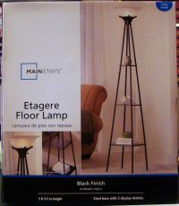 NEW Mainstays Etagere Black Finish Floor Lamp Light With 3
