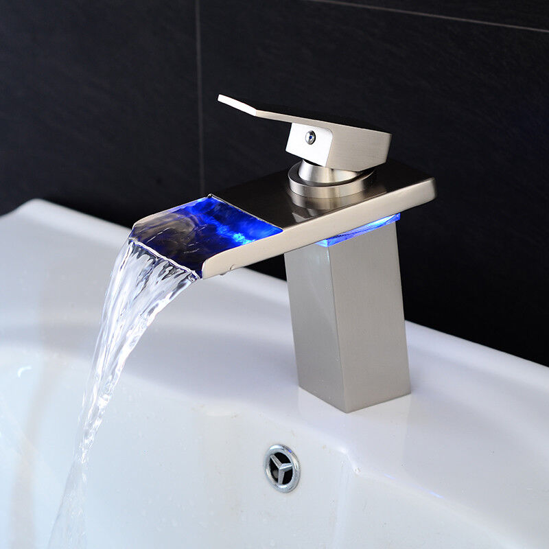 Led Bathroom Sink Faucet Waterfall Water Flow Chrome One