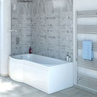 11 Jet P Shaped Whirlpool Shower Bath | Screen with Towel ...