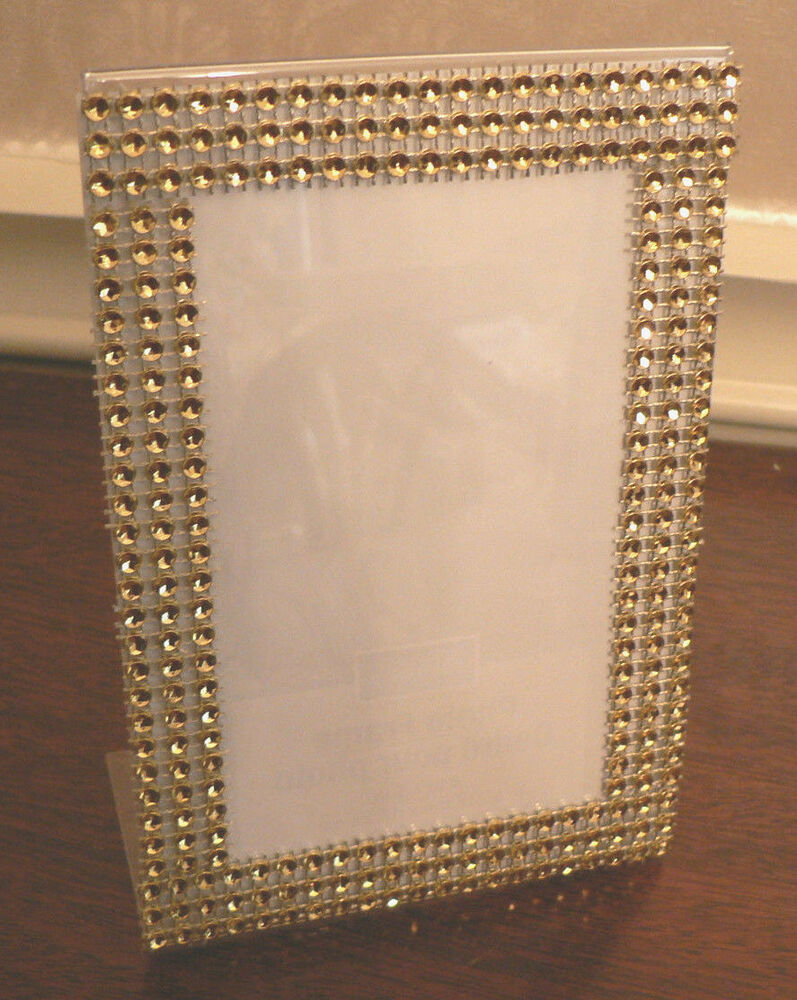 Bling Picture Frame 4 X 6 Wedding Gold Rhinestone Look