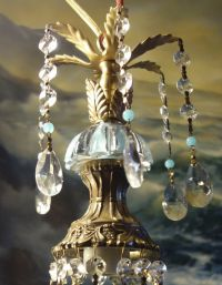 Vintage Blue glass tole gilt Brass SWAG hanging lamp ...
