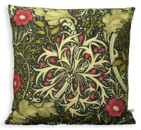 William Morris Seaweed Black Red Fabric Vintage Designer