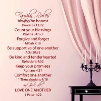 Family Rules Wall Decal Quote Love One Another Bible ...