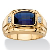 BLUE SAPPHIRE MENS 18K GOLD DIAMOND ACCENT GP RING SIZE 8 ...