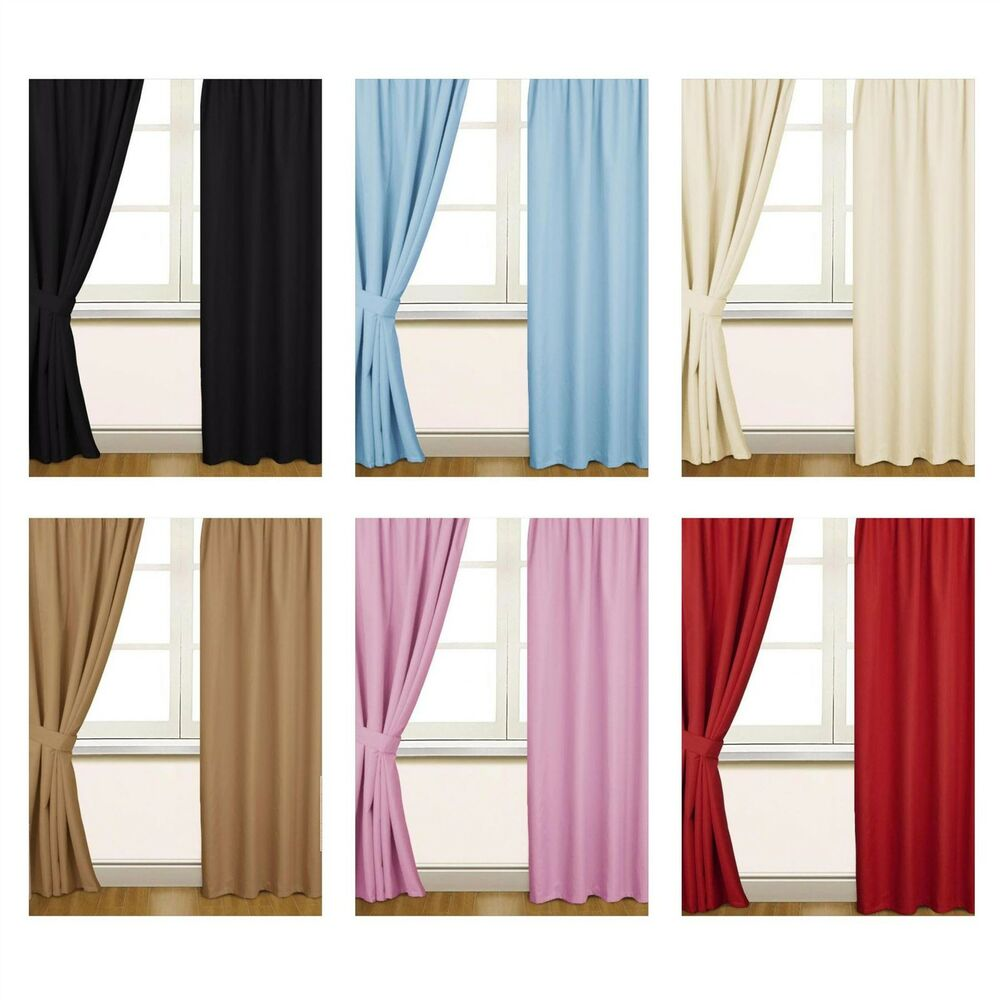 Black And Blue Curtains Thermal Blackout Pencil Pleat Ready Made Curtain Black Blue Cream Latte Pink Red Ebay