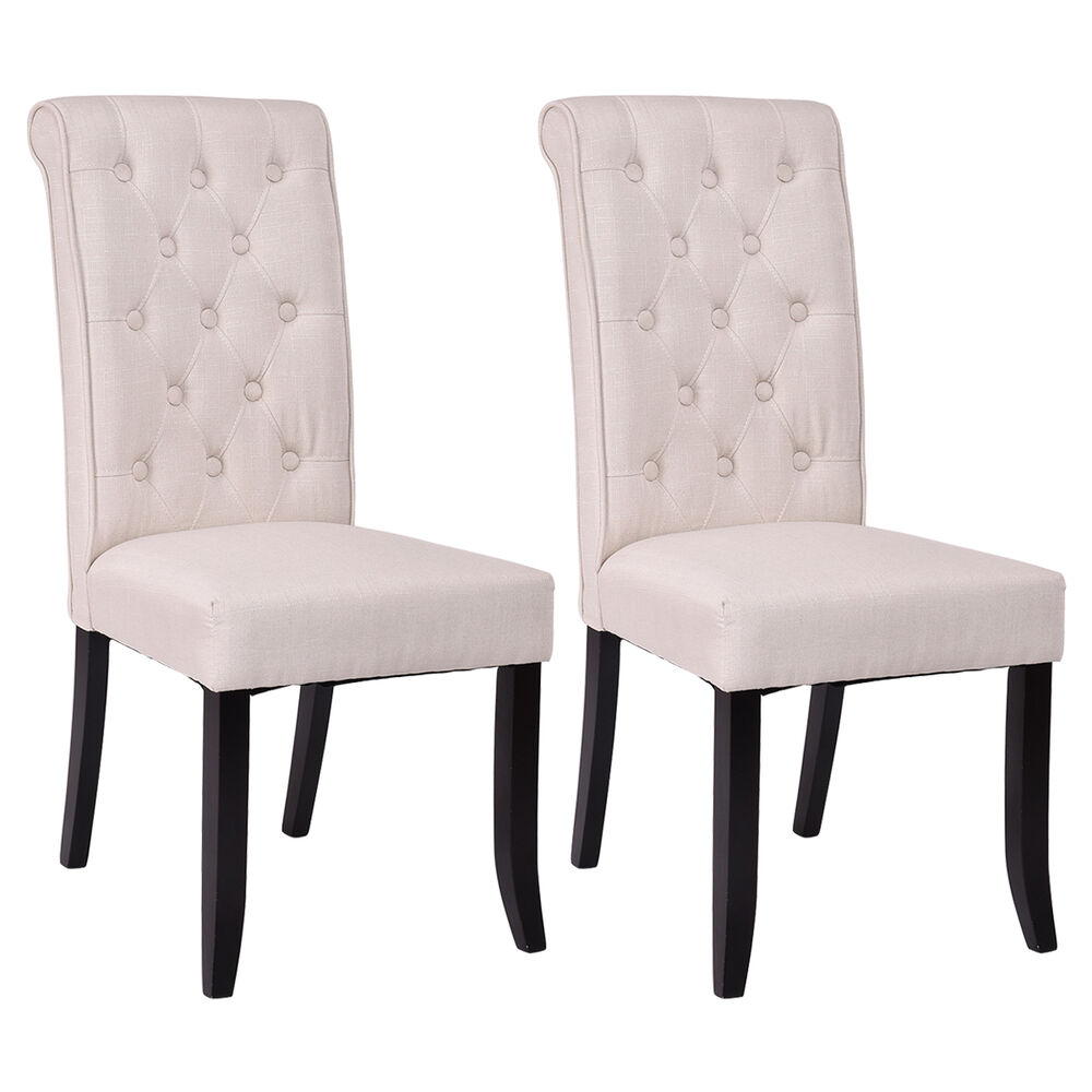 Set Of 2 Dining Chairs Fabric Upholstered Tufted Armless