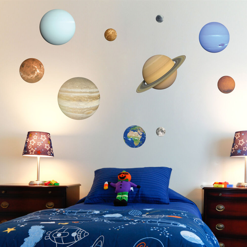 Planets Wall Art Solar System Wall Stickers Planets Moon Child S Bedroom Playroom Wall Art Ebay