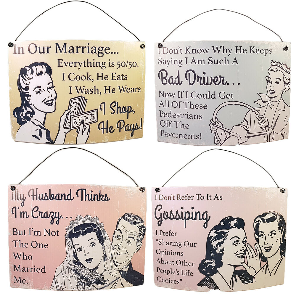 Bad Shabby Chic Large Curved Metal Shabby Chic Vintage Hanging Plaque Signs Husband Wife Ebay